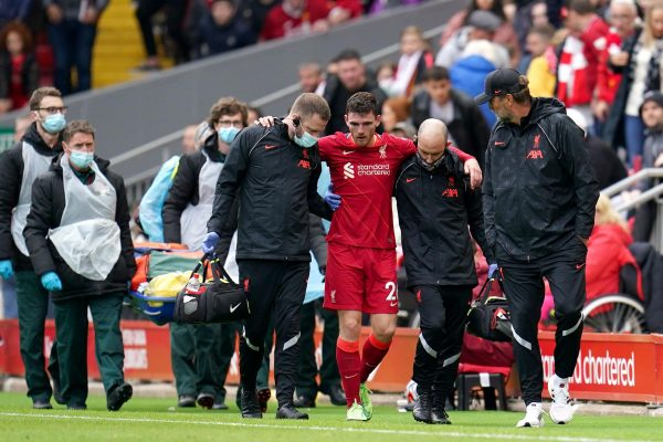 Liverpool were shattered Robertson suffered an ankle injury.